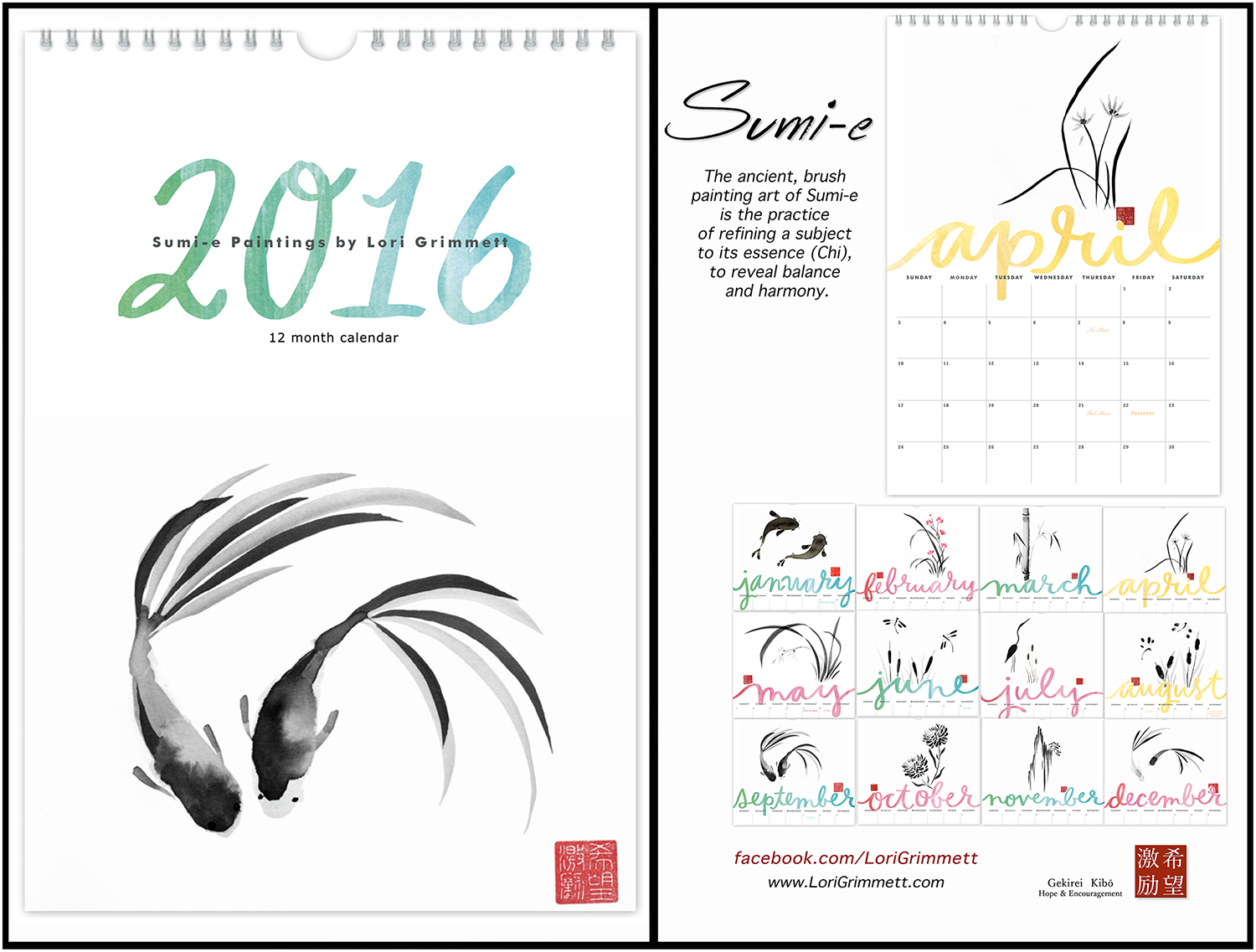 Sumi-e Paintings by Lori Grimmett. A 12 month calendar for 2016.