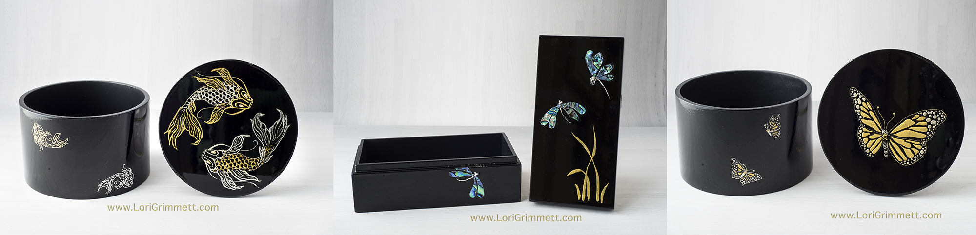 Maki-e box with dragonfly design