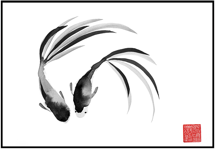 Sumi-e – Koi – Three