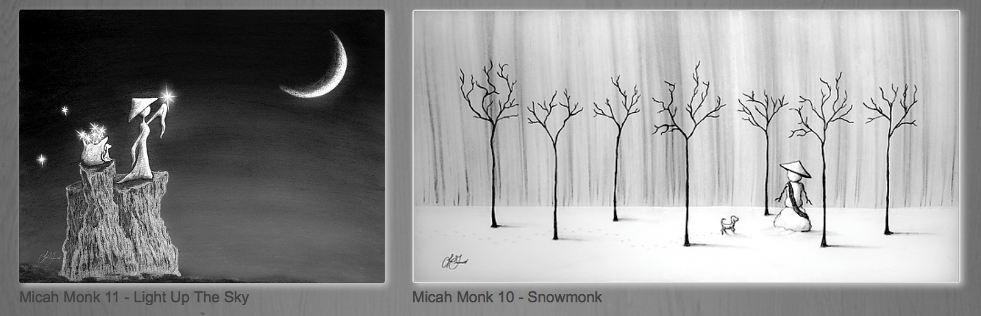 Micah Monk drawings by Lori Grimmett